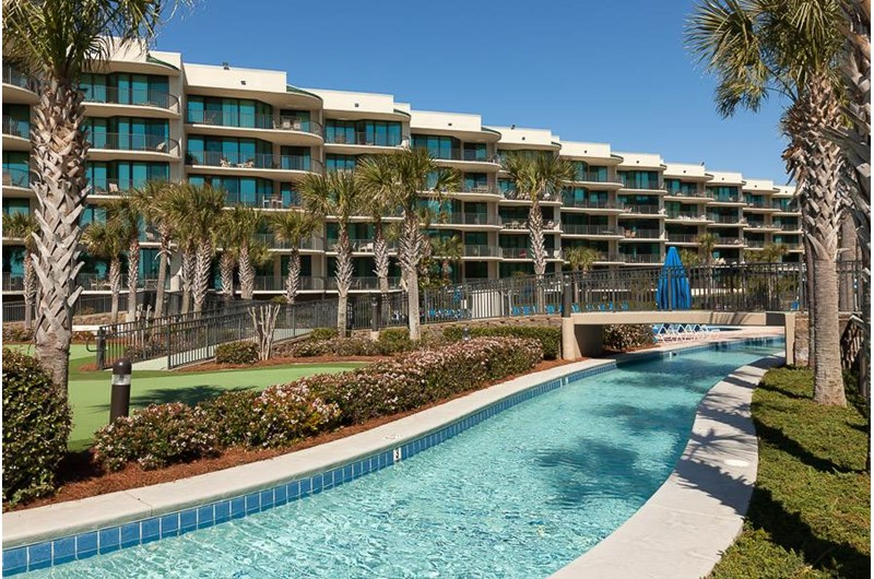 The whole family will enjoy floating down the lazy river at Phoenix on the Bay in Orange Beach AL