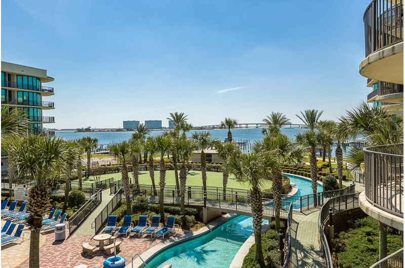The lazy river winds thru the middle of the property at Phoenix on the Bay in Orange Beach AL