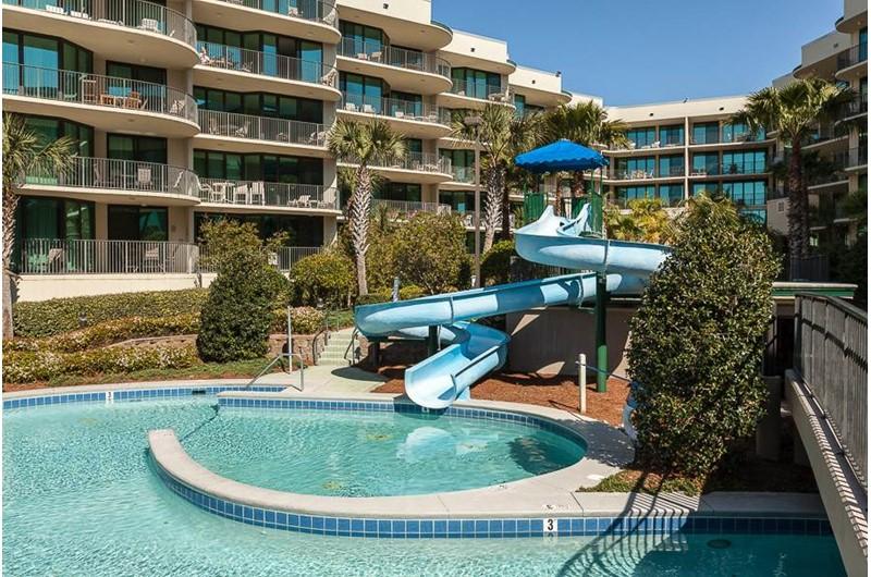 The kids will love the fun slide at Phoenix on the Bay in Orange Beach AL