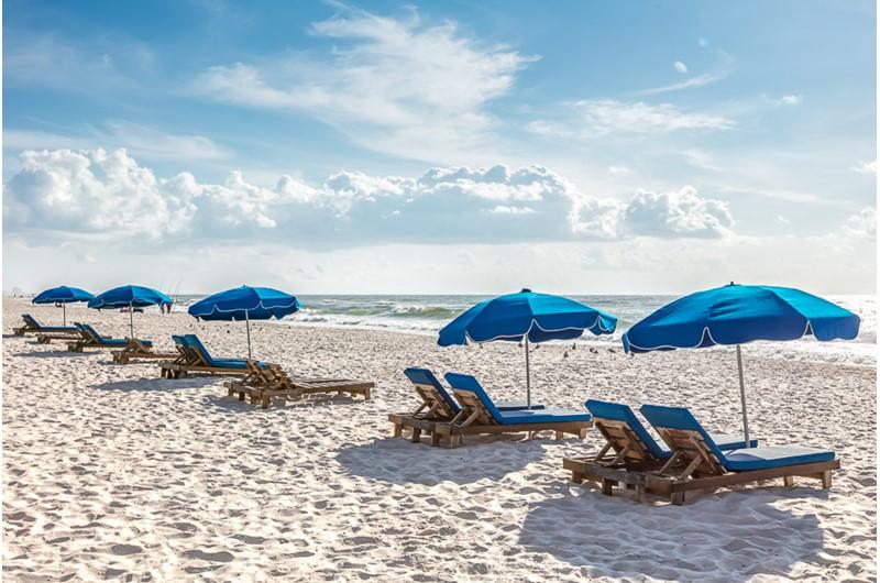Beach in front of Phoenix V in Orange Beach Alabama