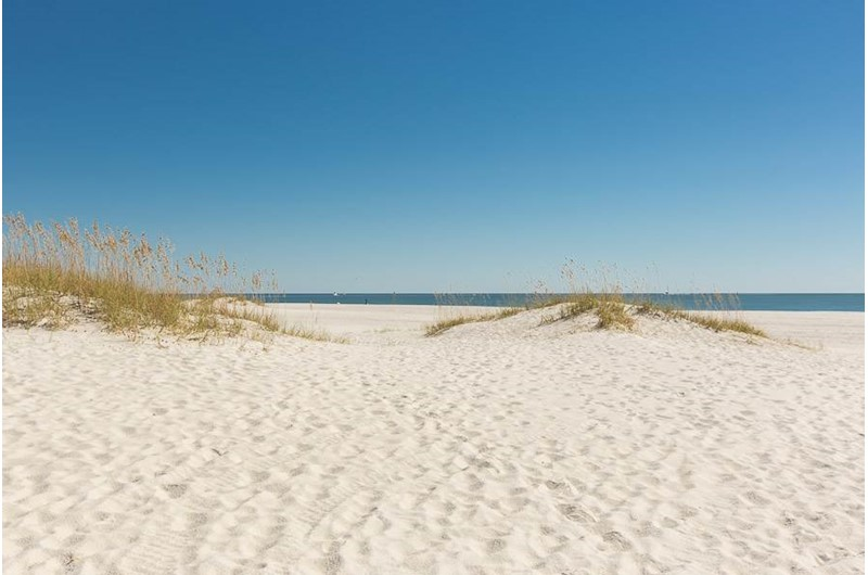 Beautiful sandy beach at Phoenix VI in Orange Beach Alabama