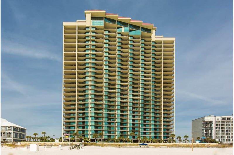 View from beach of Phoenix West in Orange Beach AL