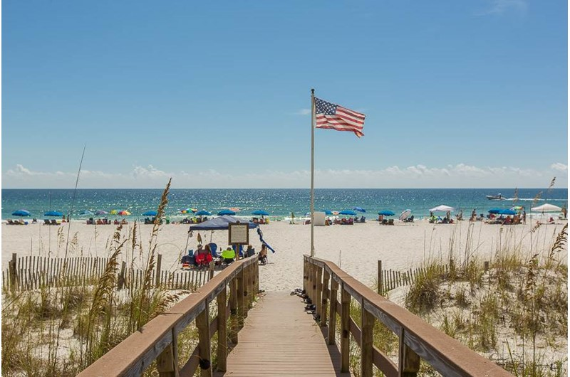 Easy walk to the beach with the boardwalk at Romar Place in Orange Beach AL