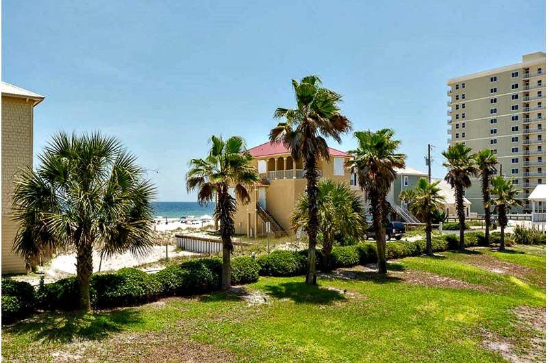 View of exterior beachfront property in Seascape Orange Beach AL