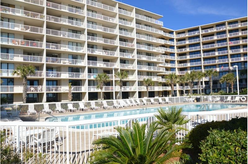 Pool is beachfront at Seaside Beach and Racquet Club in Orange Beach AL