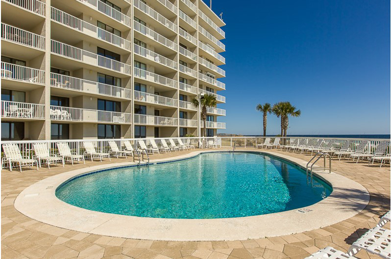 There is plenty of room in this large pool at Seaside Beach and Racquet Club in Orange Beach AL