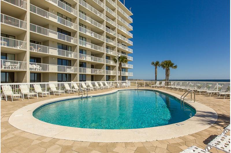 Large pool deck at Seaside Beach and Racquet Club in Orange Beach AL