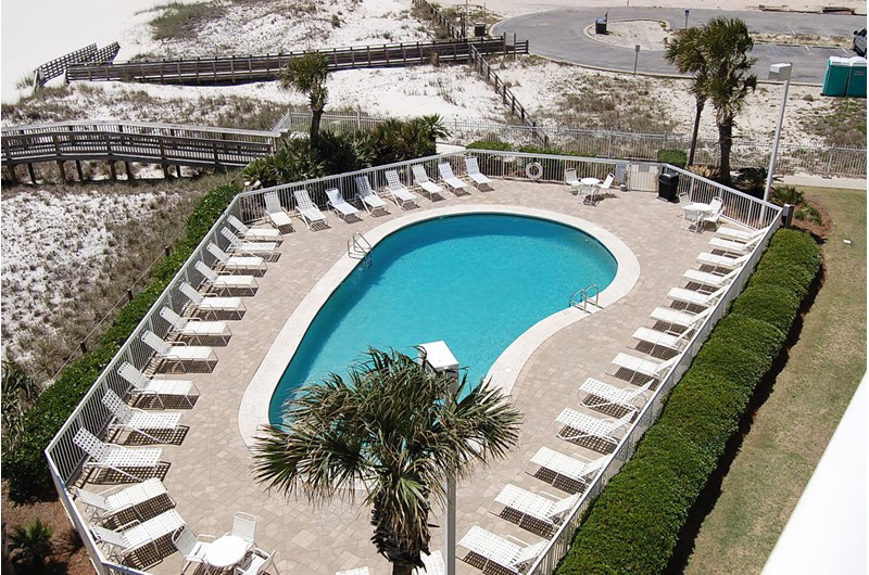 Amazing view of the pool from the units at Seaside Beach and Racquet Club in Orange Beach Alabama