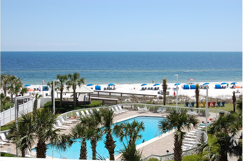 Great view of the pool and Gulf at Seaside Beach and Racquet Club in Orange Beach Alabama