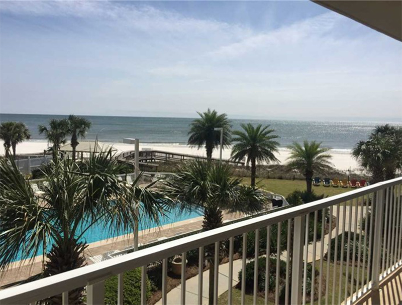 Enjoy of the Gulf and the pool at Seaside Beach and Racquet Club in Orange Beach Alabama