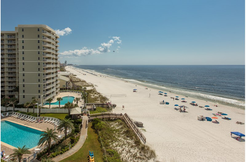 You can see all the way down the coastline at Seaside Beach and Racquet Club in Orange Beach Alabama