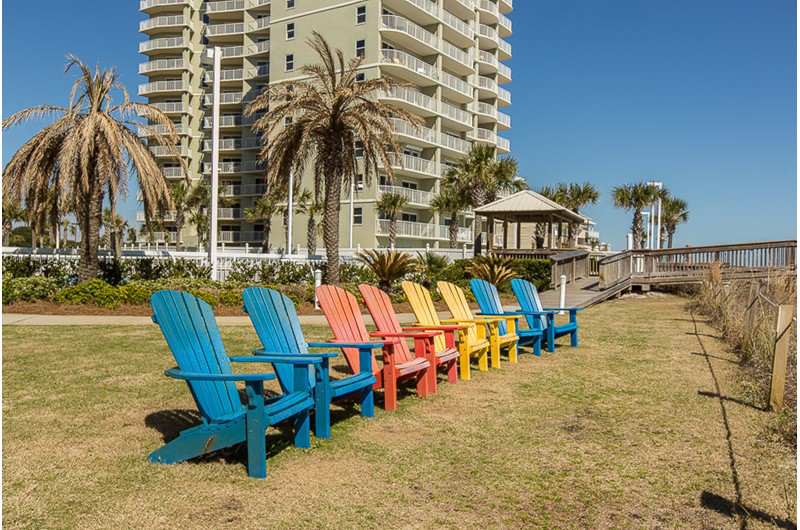 Fun chairs to enjoy as you watch the waves roll in at Seaside Beach and Racquet Club in Orange Beach Alabama