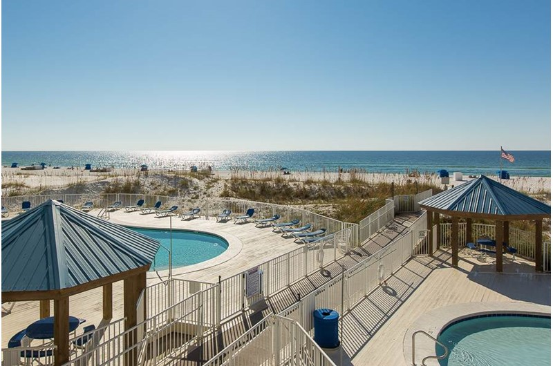 Great pool area directly beach front at Sugar Beach in Orange Beach AL