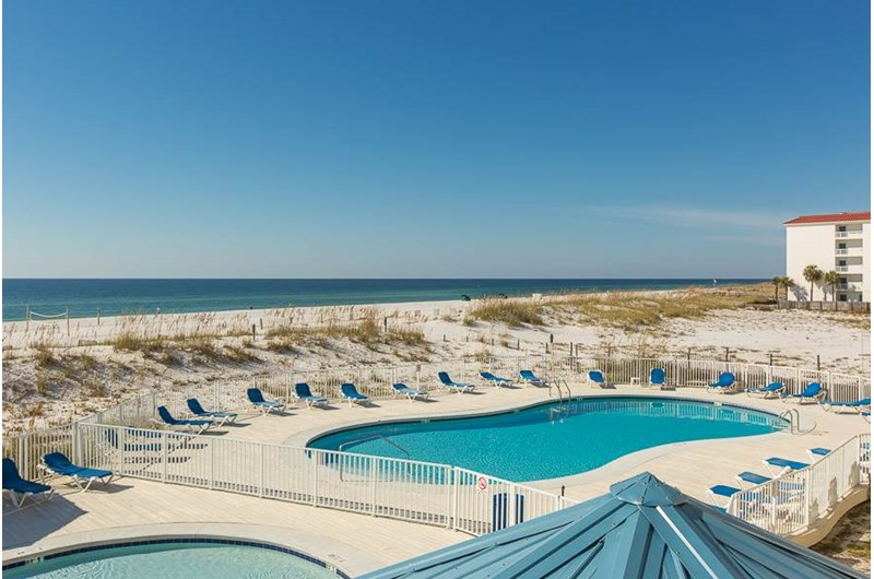 Birds eye view of pool at Sugar Beach in Orange Beach AL
