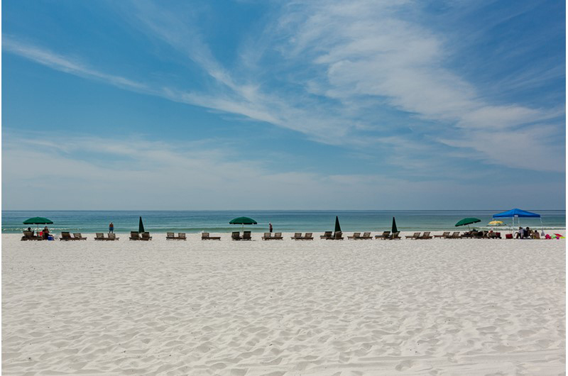 The beach is directly in front of Summerchase Condominiums in Orange Beach AL