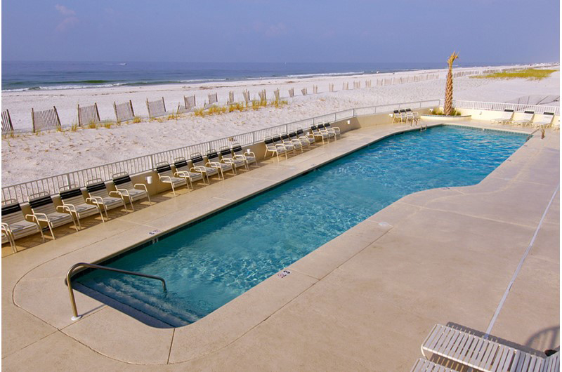 You will enjoy the view of the beach from the lovely pool at Summerchase Condominiums in Orange Beach AL