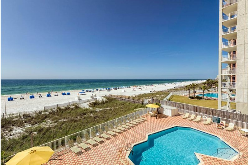 Get a great view of the pool and Gulf at The Enclave in Orange Beach AL