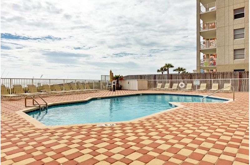 Take a dip in the pool that is directly on the beach at The Enclave in Orange Beach AL
