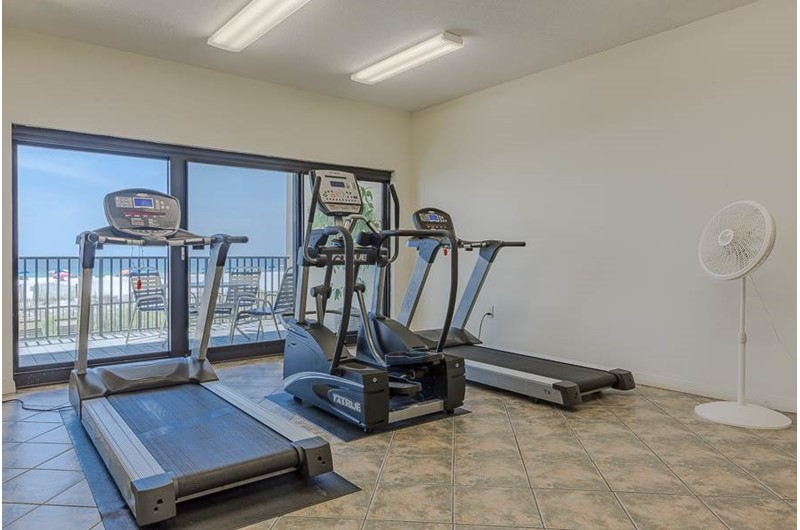 Enjoy the view while staying in shape in the Gulf-front fitness room at The Palms Orange Beach.