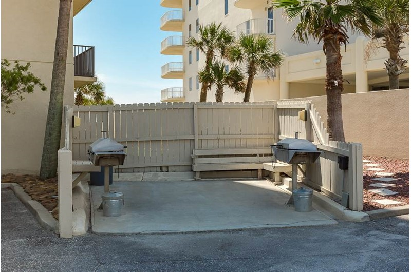 Grill your own dinner in the outdoor barbecue area at The Palms Orange Beach.