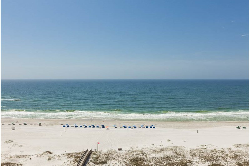 Enjoy a direct view of the beach and water from Tidewater in Orange Beach Alabama