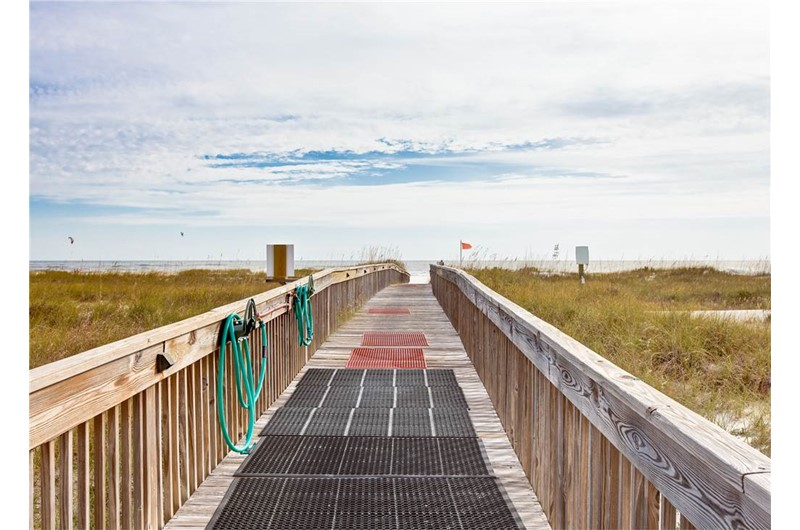 Use the boardwalk for easy access to the beach from Tidewater in Orange Beach Alabama