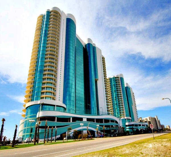 Exterior of beachfront Turquoise Place in Orange Beach Alabama