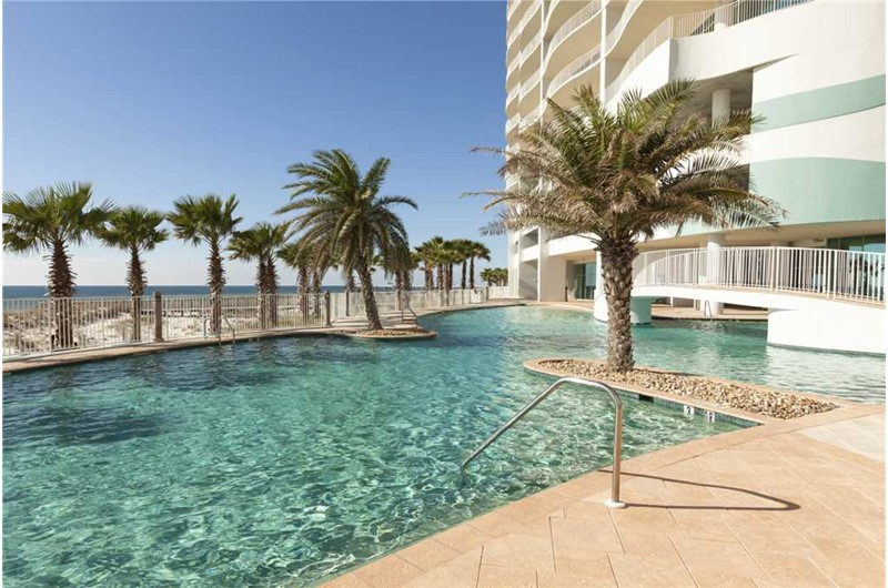 Pool sits right on the beach at Turquoise Place in Orange Beach AL