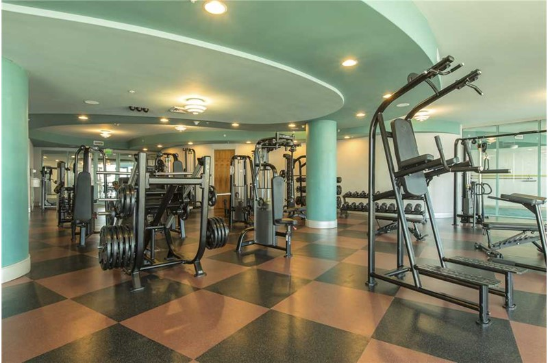 Amazing amount of equipment to choose from in the gym at Turquoise Place in Orange Beach AL