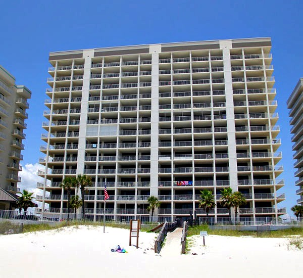 View as seen from beach of Windward Pointe Condominiums in Orange Beach Alabama