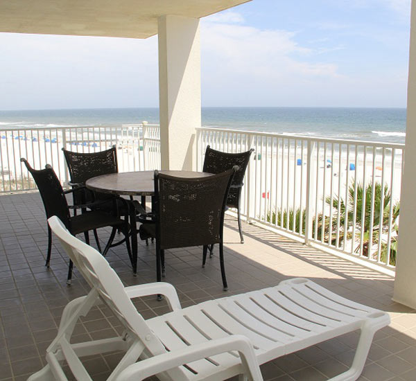 Balcony overlooking the beach at Windward Pointe in Orange Beach Alabama
