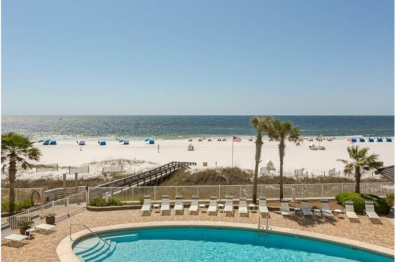 Enjoy a view of the pool and beach from Windward Pointe Condominiums in Orange Beach Alabama