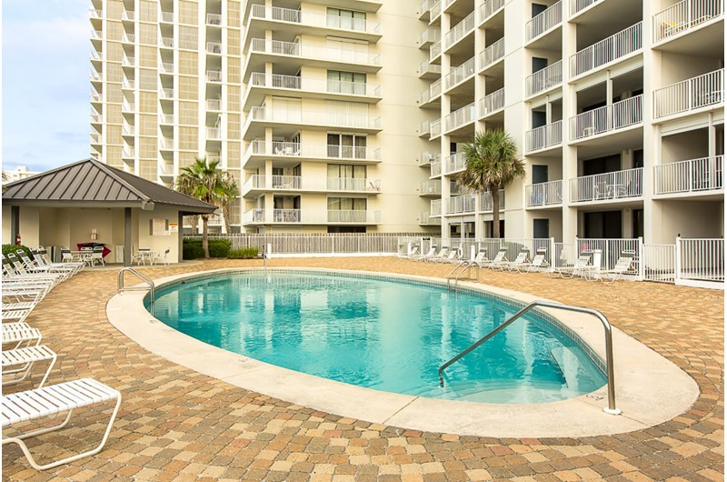 Large pool area to enjoy at Windward Pointe Condominiums in Orange Beach Alabama