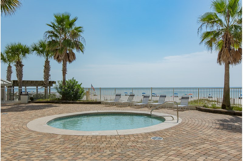 Beautiful view of the Gulf from the hot tub at Windward Pointe Condominiums in Orange Beach Alabama