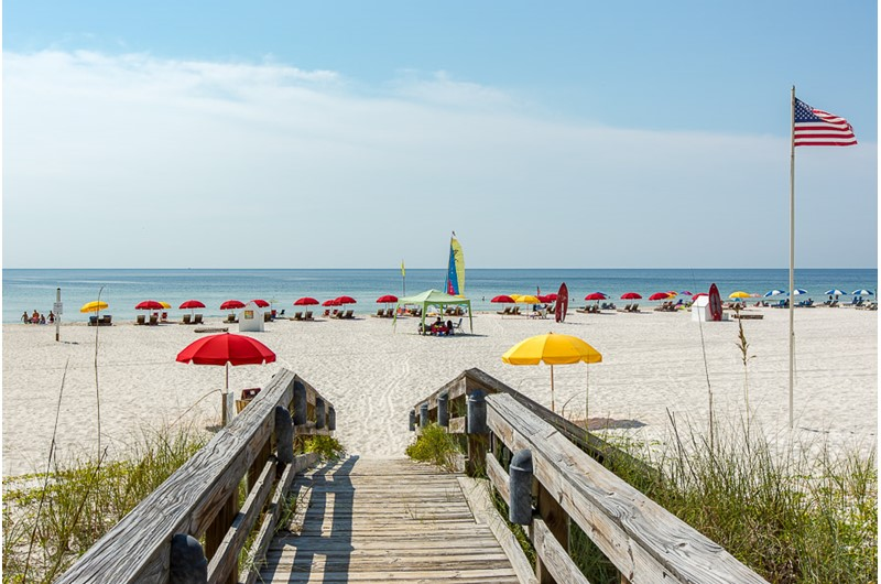 The boardwalk is a handy way to the beach at Windward Pointe Condominiums in Orange Beach Alabama