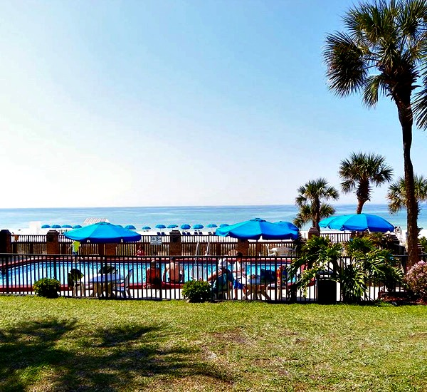 Beachfront pool at Osprey Motel in Panama City Beach Florida