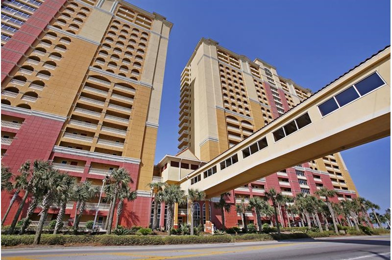Easy walk-over from a comfortable parking deck to your condo at Calypso in Panama City Beach Florida