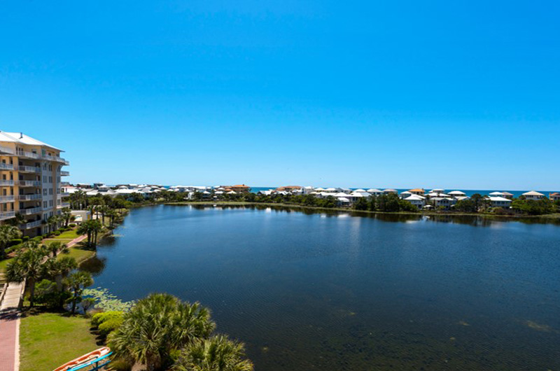 Enjoy the big view of the lake from your condo at  Carillon Beach Resort Inn