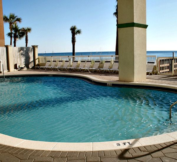 Enjoy the view from the pool at Celadon Beach Resort   in Panama City Beach Florida