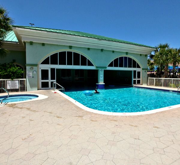 Indoor and outdoor pool at Celadon Beach Resort   in Panama City Beach Florida