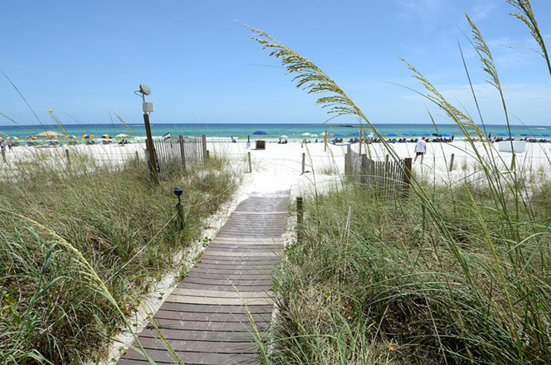 Convenient boardwalk to the beach at Continental Condominiums in Panama City Beach Florida