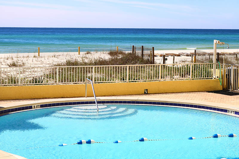 Watch the waves as you float in the pool at Continental Condos in Panama City Beach FL