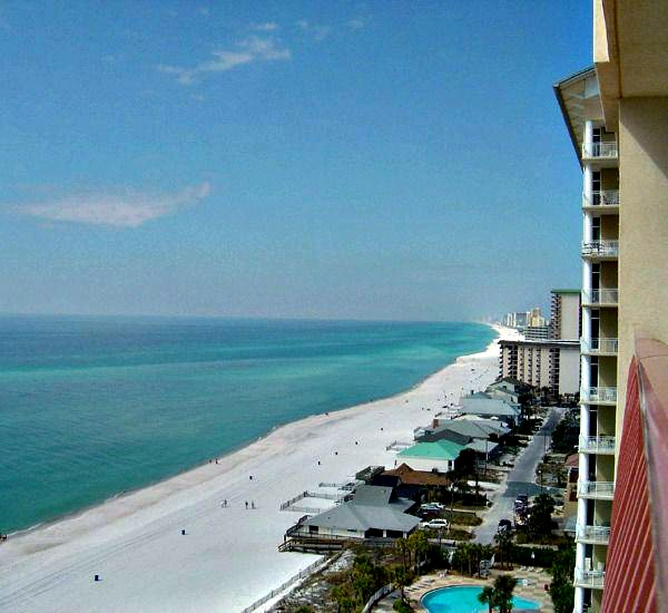 Beachfront balcony view at Coral Reef Condos