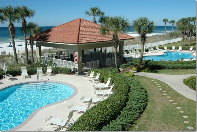 Pool is directly Gulf front at Coral Reef in Panama City Beach FL