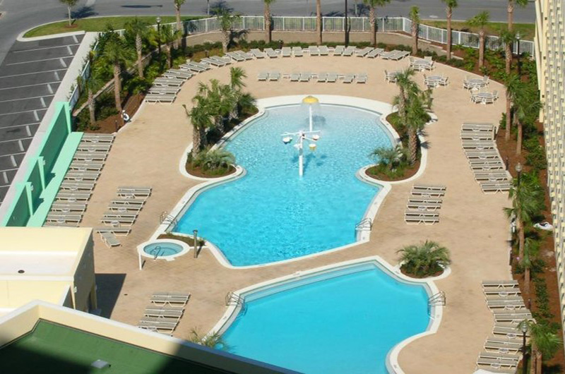 Amazing birds eye view of the pools at Emerald Beach Resort in Panama City Beach FL
