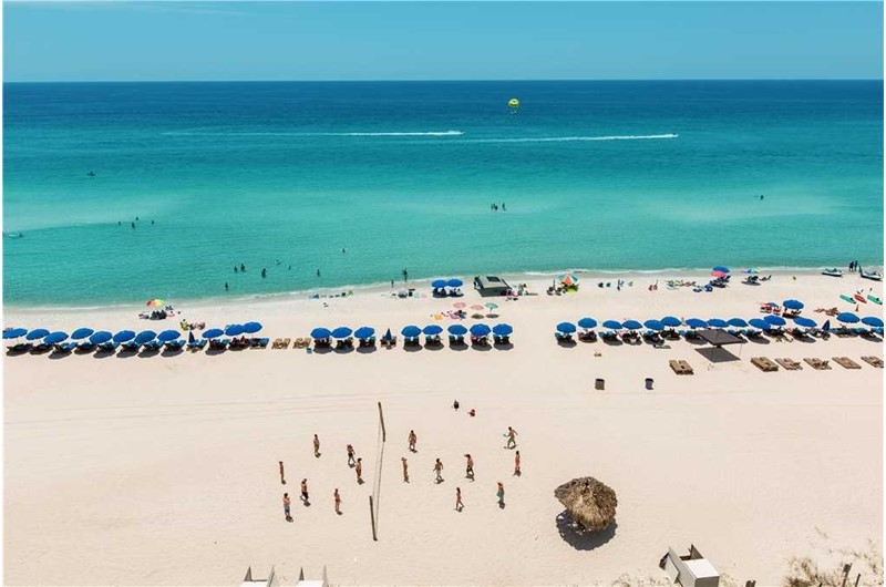Beachfront balconies at Emerald Isle in Panama City Beach Florida  offer stunning Gulf views