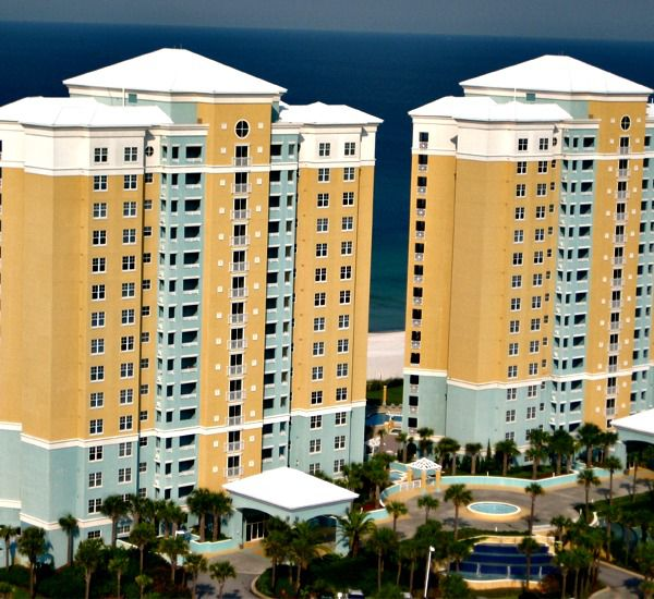 Exterior view of the Gulf-front towers at En Soleil Panama City Beach Florida