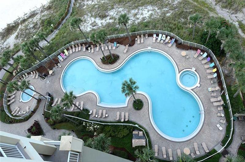 View the pool from you balcony at Grand Panama Beach Resort in Panama City Beach FL