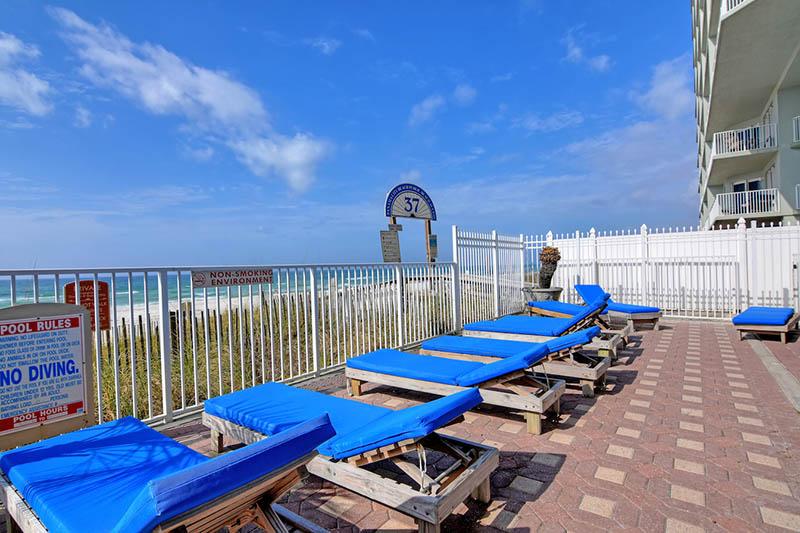 Huge pool deck to sunbath in at Grandview East Resort in Panama City Beach Florida