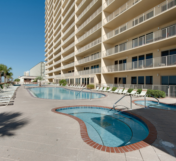 Pool area at Gulf Crest Condominiums in Panama City Beach Florida